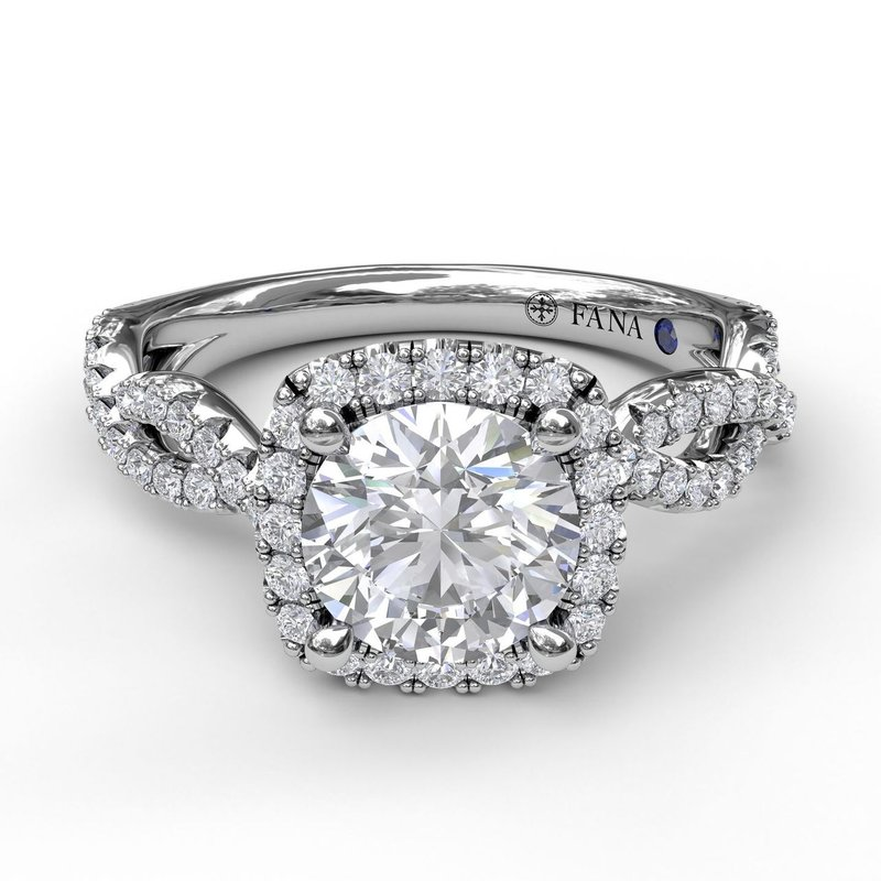 Fana Cushion Halo Twist Engagement Ring