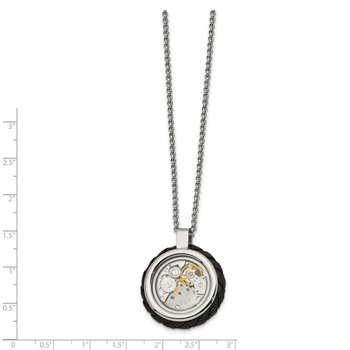 Stainless Steel Brushed & Polished Yellow IP w/CZ & Leather 22in Necklace