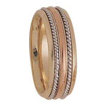 7.5mm 5164 Mens Tricolour Wedding Band