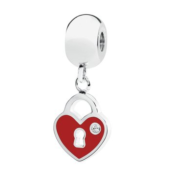 316L stainless steel red enamel and Swarovski® Elements white crystal.