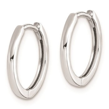 Sterling Silver Rhodium Polished Hinged Hoop Earrings
