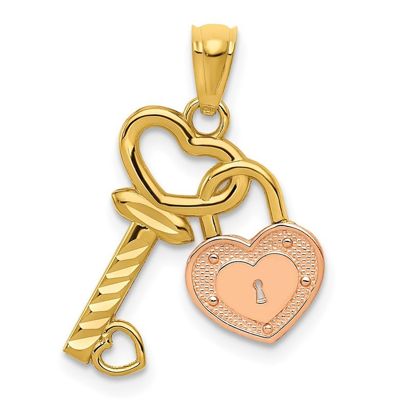 Quality Gold 14k Two-tone Heart Lock and Key Pendant