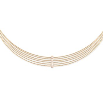 Carnation Cable 6 Row Choker Necklace with 18kt Rose Gold & Diamonds