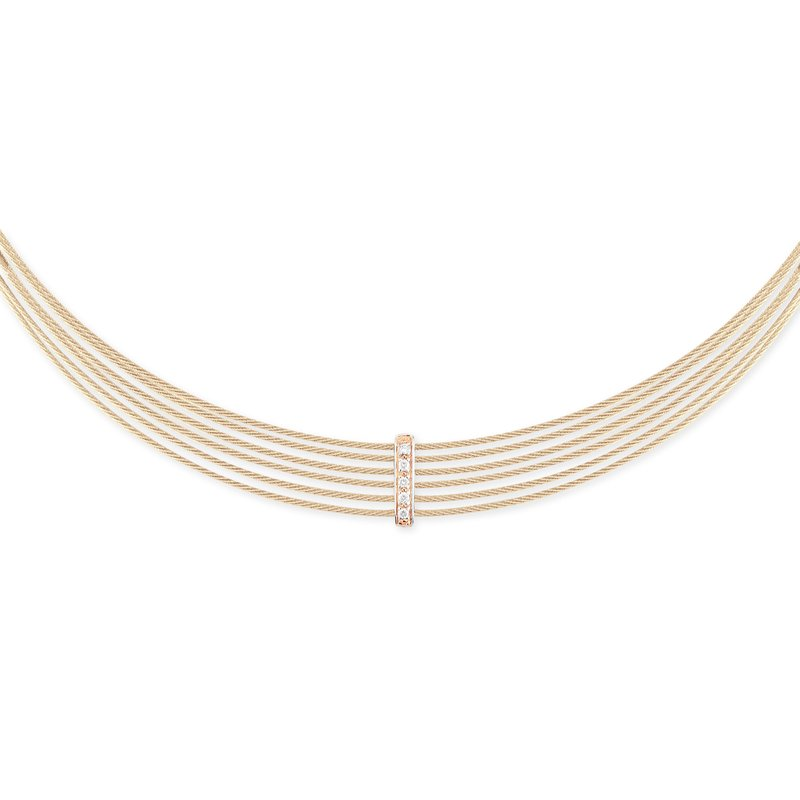 ALOR Carnation Cable 6 Row Choker Necklace with 18kt Rose Gold & Diamonds