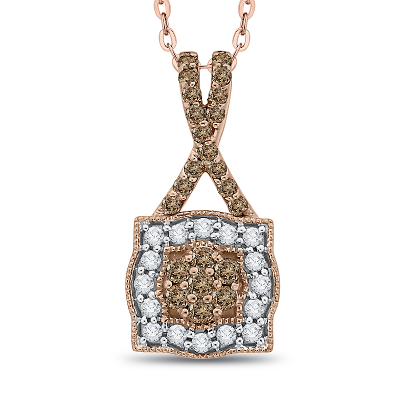 Essentials 10K Rose Gold 1/4 ct Diamond Fashion Pendant