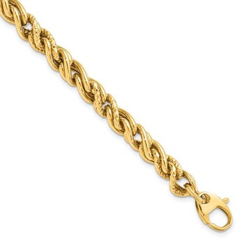 Leslie's 14K Polished D/C Twisted w/1in ext. Bracelet