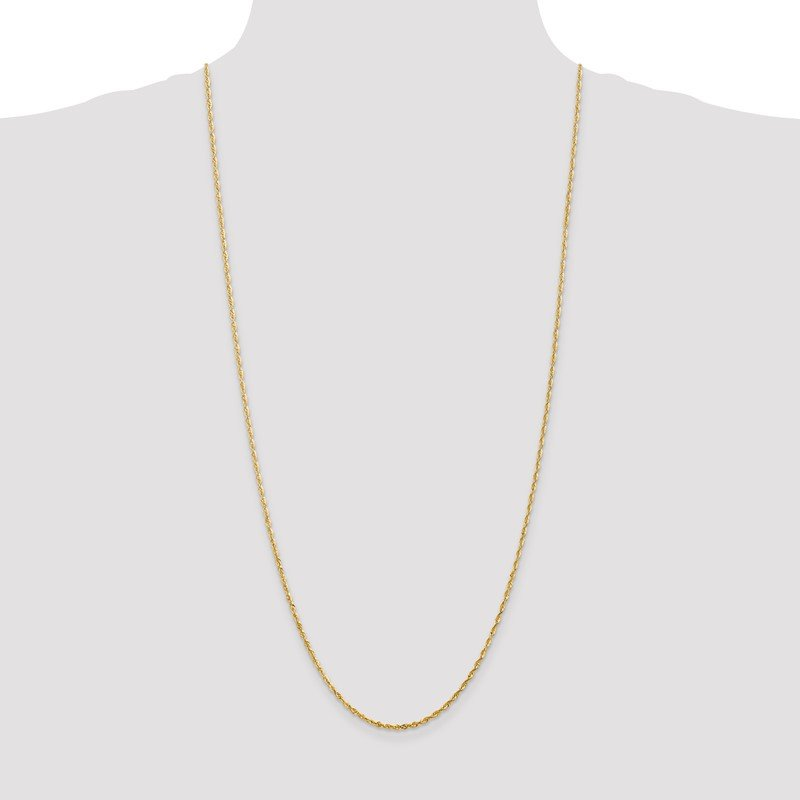 Quality Gold 10k 2.0mm Extra-Light D/C Rope Chain Anklet
