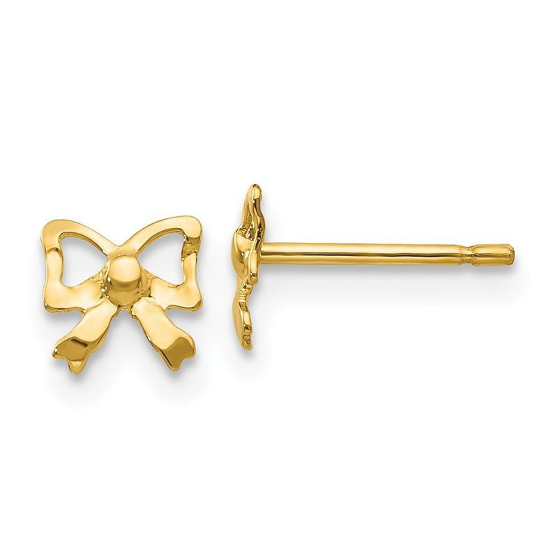Quality Gold 14k Polished Bow Post Earrings