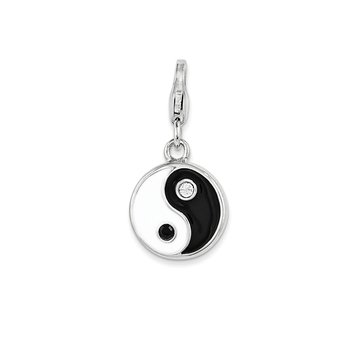 Sterling Silver Enamel and Swarovski Elements Yin And Yang Charm