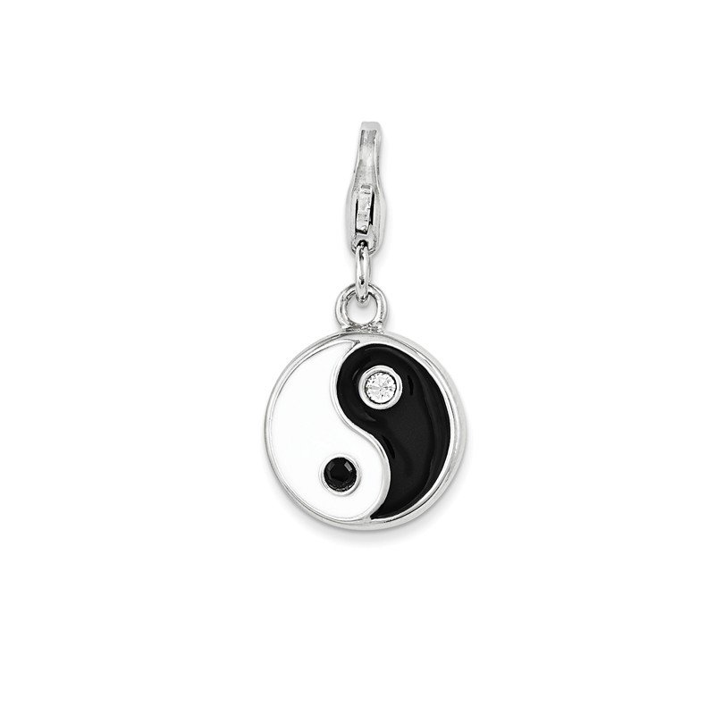 Arizona Diamond Center Collection Sterling Silver Enamel and Swarovski Elements Yin And Yang Charm