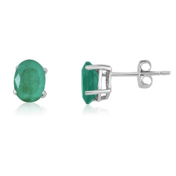 14k White Gold Oval Emerald Stud Earring