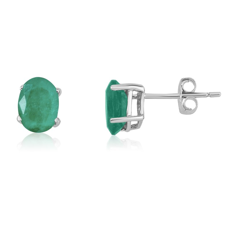 Color Merchants 14k White Gold Oval Emerald Stud Earring