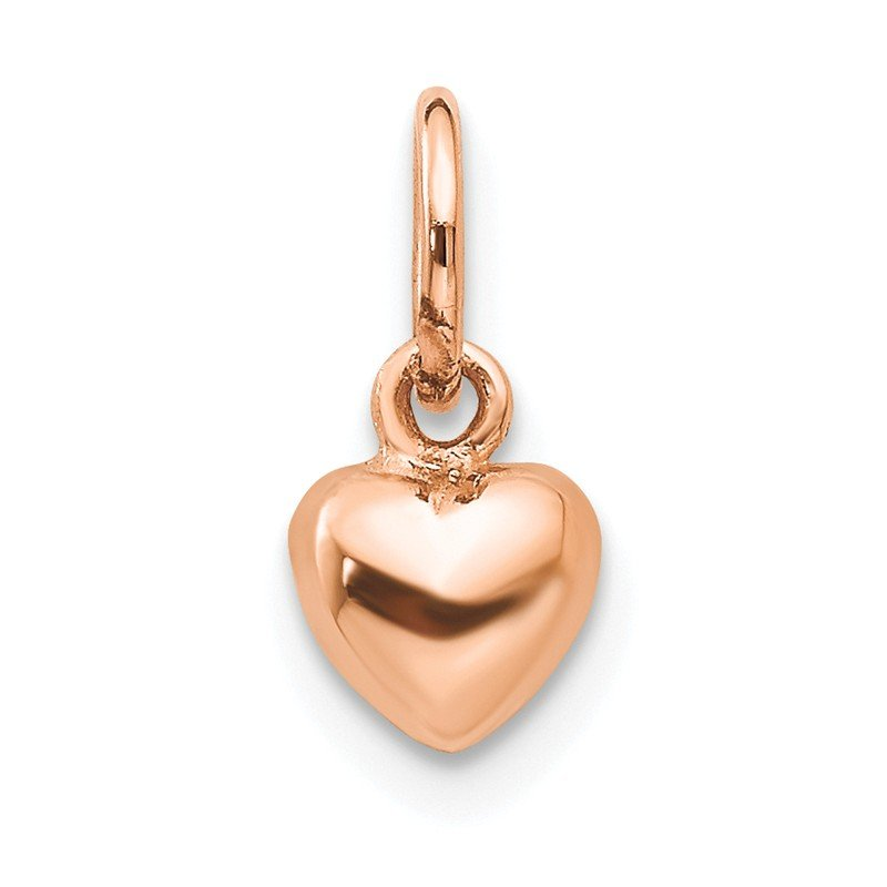 Quality Gold 14k Rose Gold Solid Polished 3-Dimensional Small Heart Charm