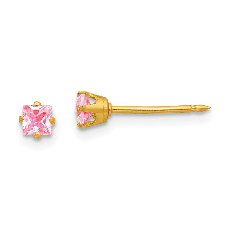 Quality Gold Inverness 14k 3mm Square Pink CZ Post Earrings