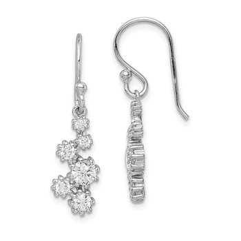 Sterling Silver Rhodium-plated w/ CZ Post Dangle Earrings