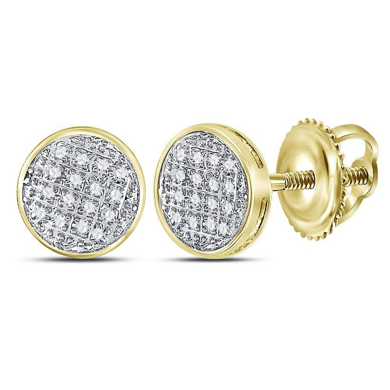Kingdom Treasures 10kt Yellow Gold Mens Round Diamond Circle Cluster Stud Earrings 1/12 Cttw
