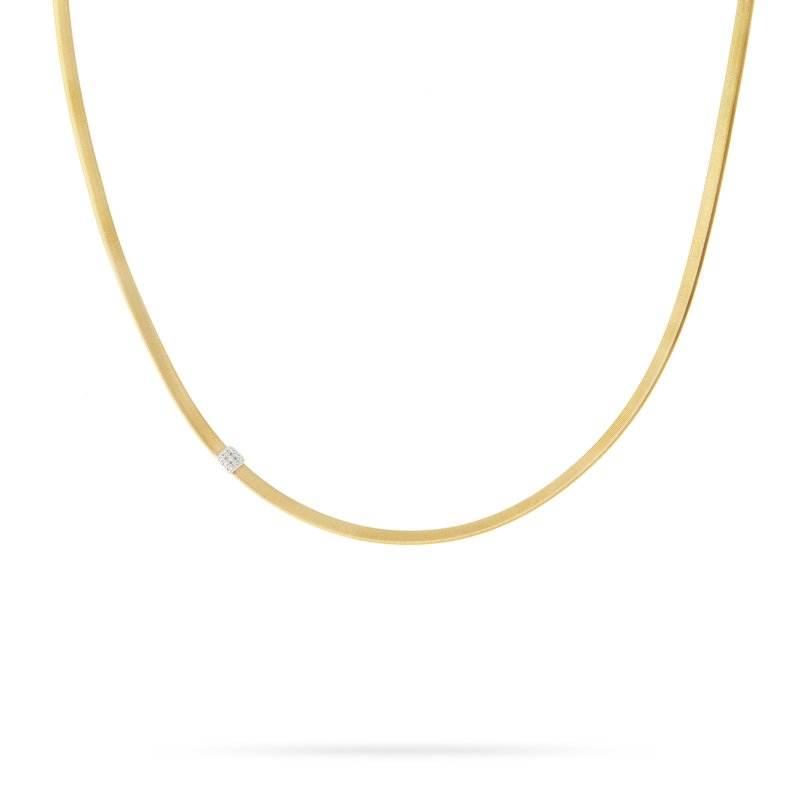 Marco Bicego Masai Single Station Diamond Necklace in Yellow Gold