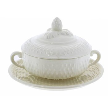 Covered Bouillon Cups and Saucers, Set of 2