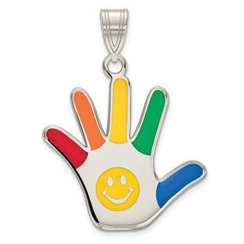 Sterling Silver Rhod-plate Enamel Autism w/Smiley Face Handprint Pendant