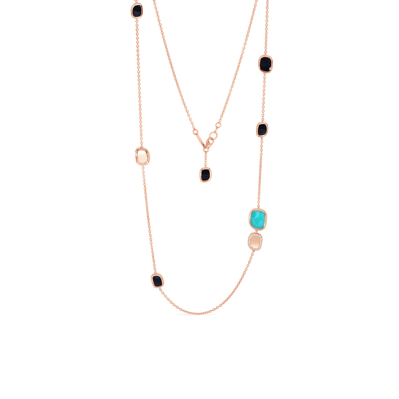 Roberto Coin Station Necklace With Black Jade, Agate And Diamonds