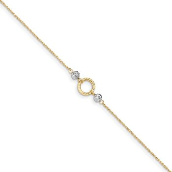 14k Two-tone Circle and Bead 9in Plus 1in ext. Anklet