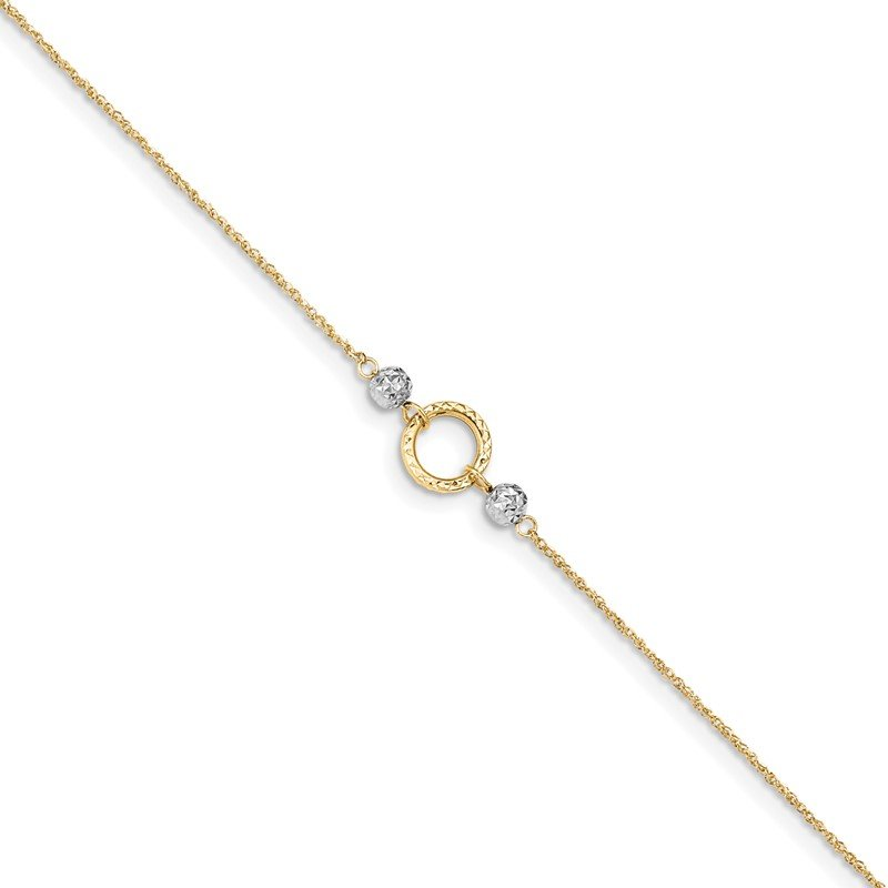 Quality Gold 14k Two-tone Circle and Bead 9in Plus 1in ext. Anklet