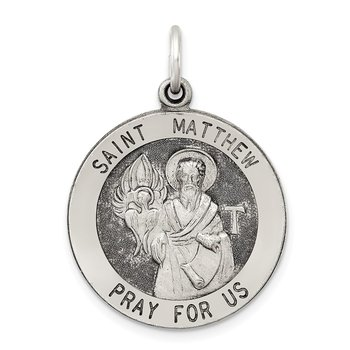 Sterling Silver Antiqued Saint Matthew Medal
