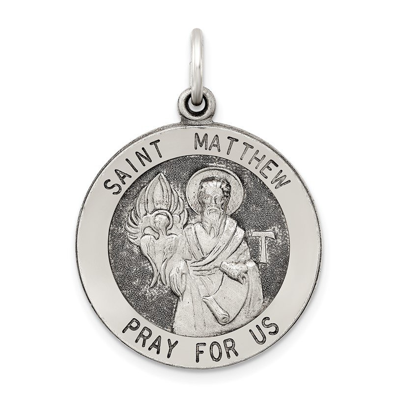 Quality Gold Sterling Silver Antiqued Saint Matthew Medal