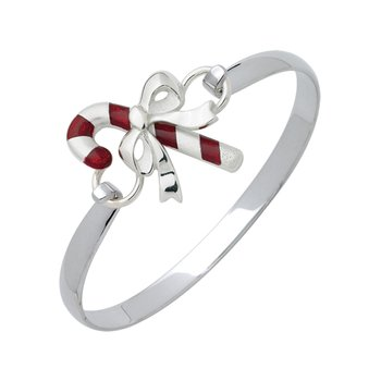 Sterling Silver Candy Cane & Wide Bracelet