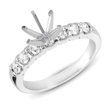 White Gold Shared Prong Semi