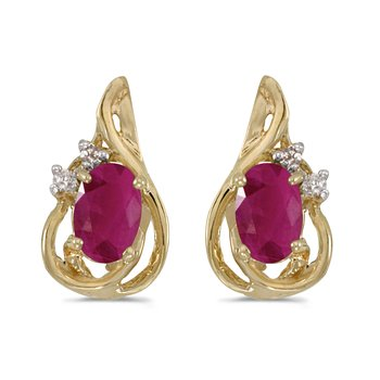 10k Yellow Gold Oval Ruby And Diamond Teardrop Earrings