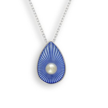 Blue Teardrop Necklace.Sterling Silver-Freshwater Pearl