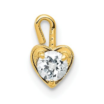 14ky April Synthetic Birthstone Heart Charm