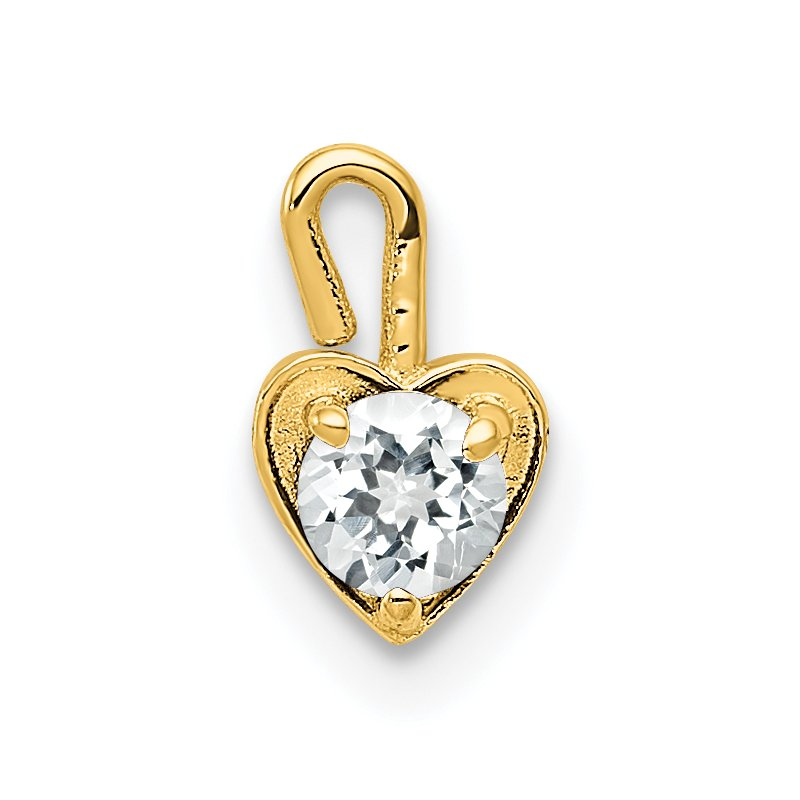 Quality Gold 14ky April Synthetic Birthstone Heart Charm