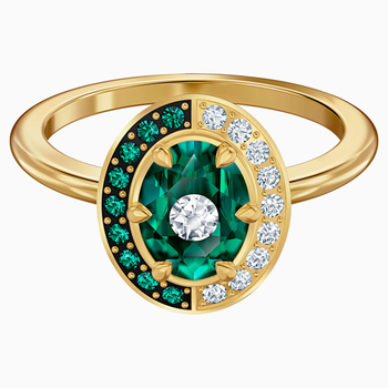Black Baroque Motif Ring, Green, Gold-tone plated