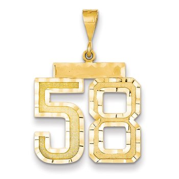 14k Large Diamond-cut Number 58 Charm