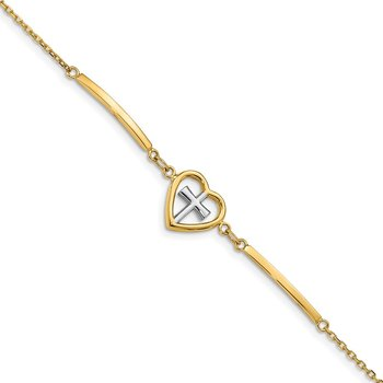 14K & White Rhodium-plated Polished Heart & Cross w/.75in ext. Bracelet