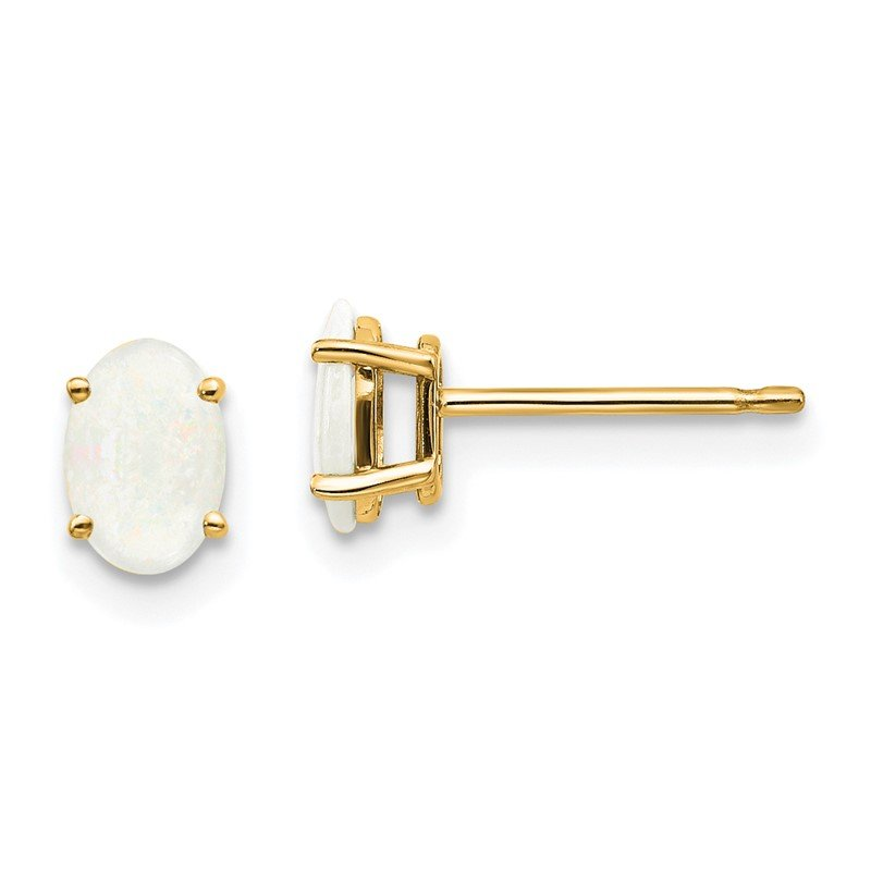 Quality Gold 14k Opal Earrings - October