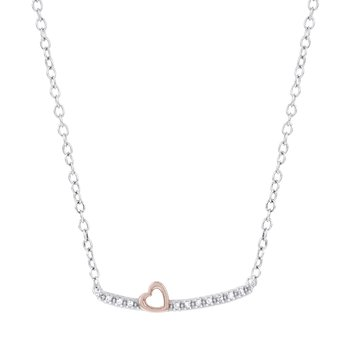 Rose Plated Silver Diamond Accent Heart on Bar Necklace