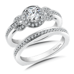 Valina Bridals Halo Engagement Ring Mounting in 14K White Gold (.20 ct. tw.)