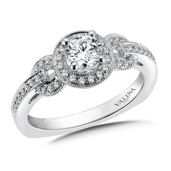 Halo Engagement Ring Mounting in 14K White Gold (.20 ct. tw.)