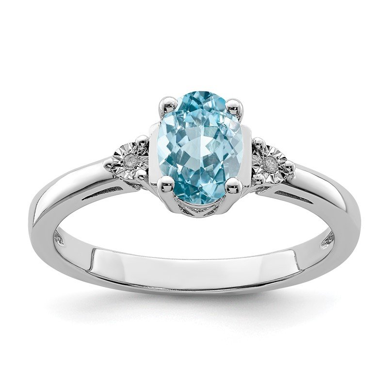 Quality Gold Sterling Silver Rhodium Diam. & Light Blue Topaz Ring
