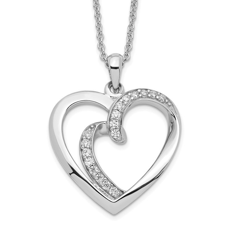 Quality Gold Sterling Silver & CZ Two Souls Lived As One 18in Heart Necklace