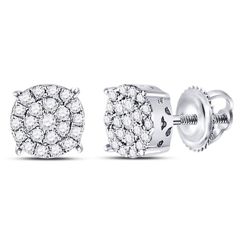 Gold-N-Diamonds, Inc. (Atlanta) 10kt White Gold Womens Round Diamond Concentric Circle Cluster Earrings 1/4 Cttw