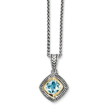 Sterling Silver w/14k Sky Blue Topaz Necklace