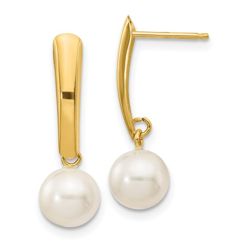 Quality Gold 14K 6-7mm White Round Freshwater Cultured Pearl Dangle Post Earrings