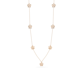 18Kt Gold Necklace With Diamond Floral Stations