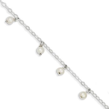 Sterling Silver White Cultured FW Pearl Bracelet
