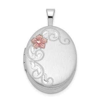 Sterling Silver Rhodium-plated With Enamel Flowers 19mm Oval Locket