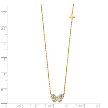 14K Butterfly CZ & Small Cross Charm with 2IN EXT Necklace